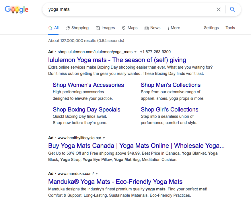 Example search result screenshot of google ads