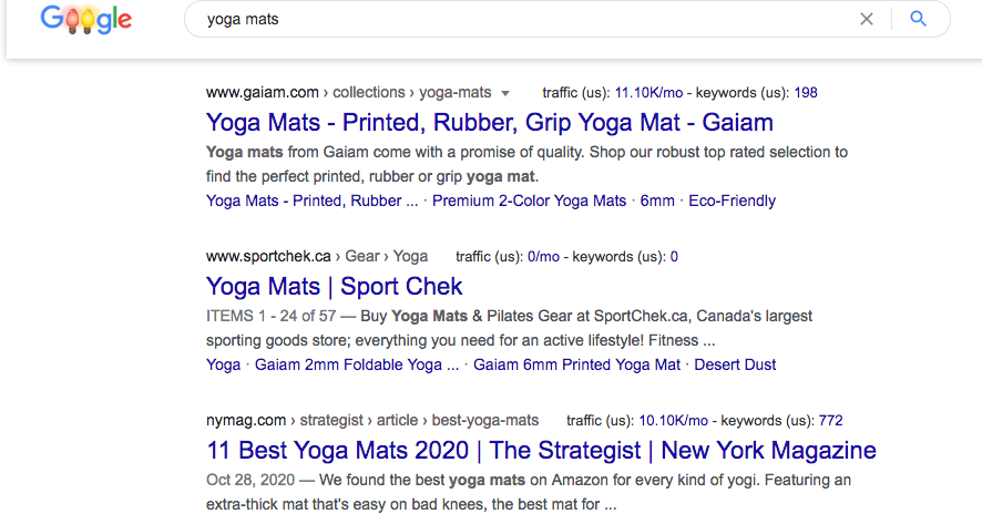 screenshot example of an organic google search result