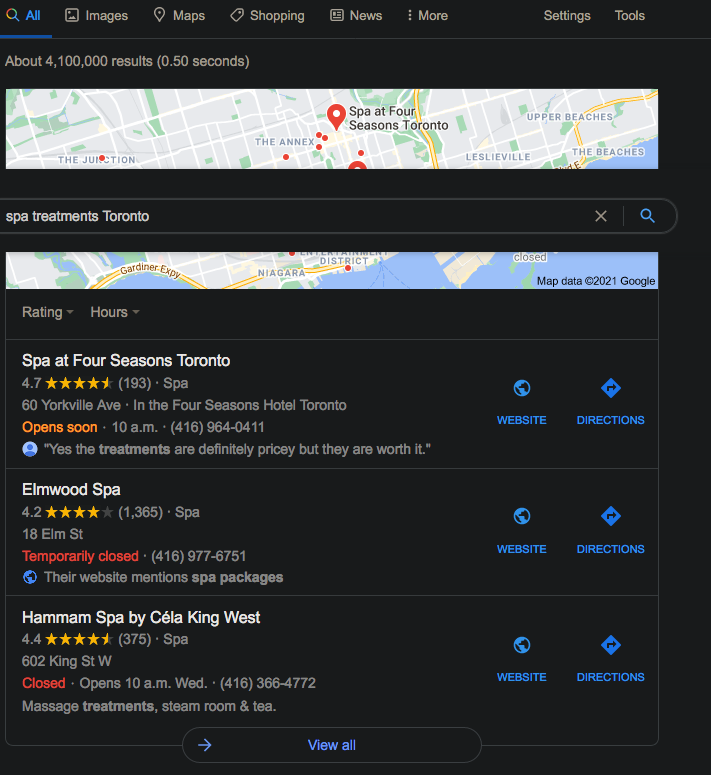 Screen shot for example of results page map local pack google