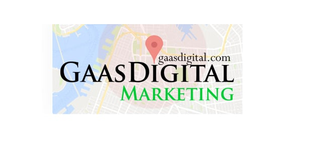 branded logo style banner for GaasDigital Marketing with a Map Pin marker